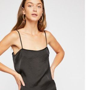 FREE PEOPLE black silky satin cami top